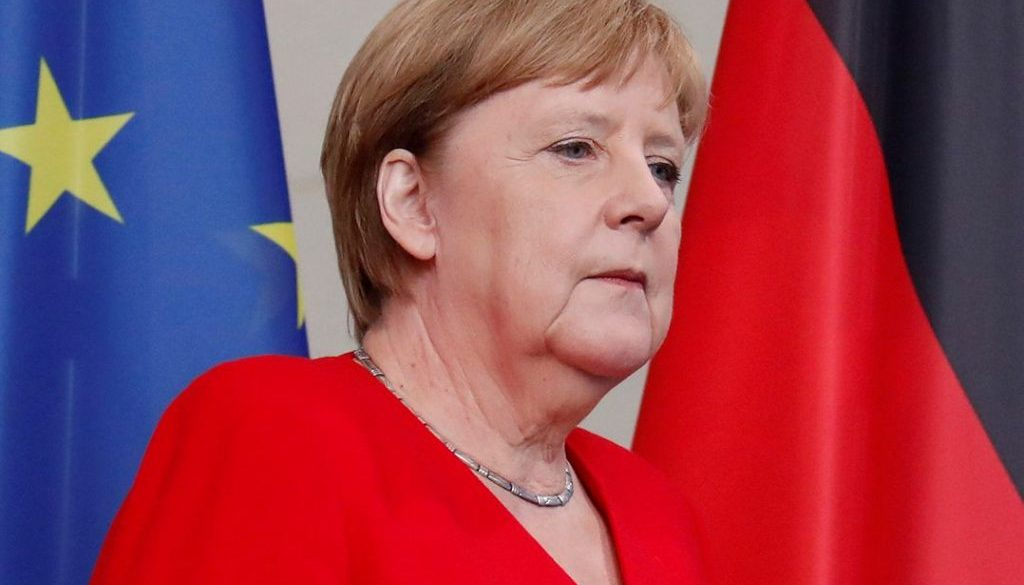 German Chancellor Angela Merkel and Moldovan Prime Minister Maia Sandu hold a joint news conference at the Chancellery in Berlin